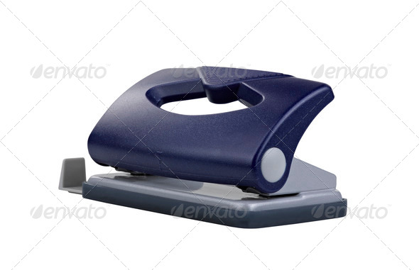 Blue office paper hole puncher, clipping path - Stock Photo - Images
