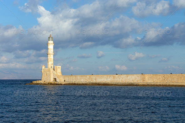 The lighthouse of Chania  - Stock Photo - Images