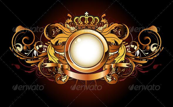 Heraldic golden frame - Decorative Vectors