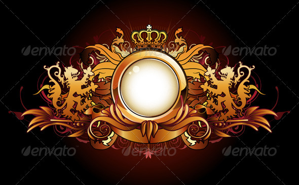 Heraldic golden frame - Decorative Vectors