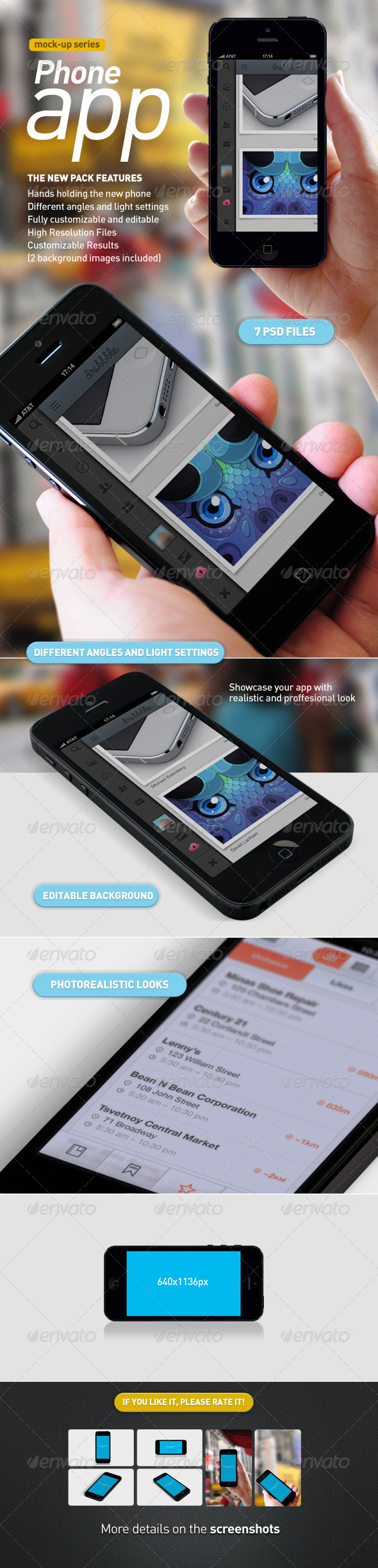 Phone with Hand | Mobile App Mock-Up - Mobile Displays