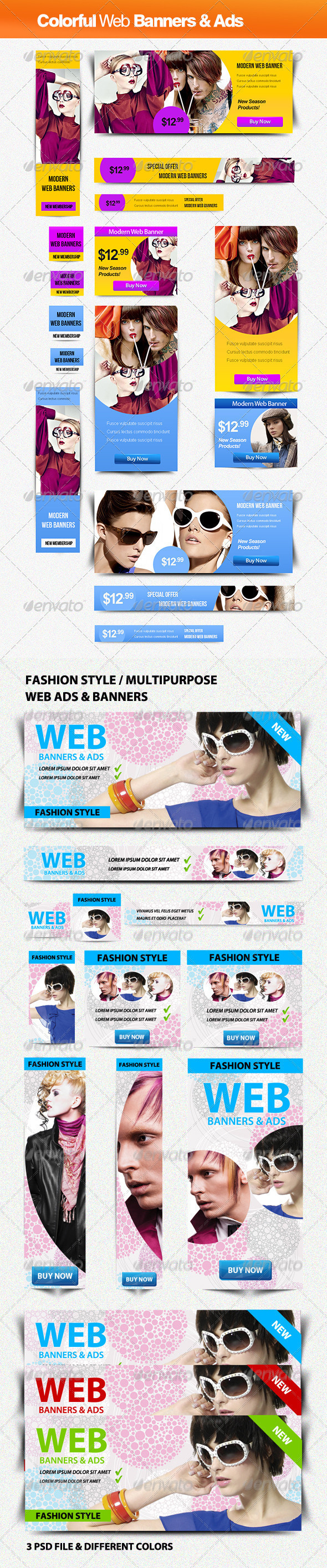Fashion Style Banners Bundle - Banners & Ads Web Elements