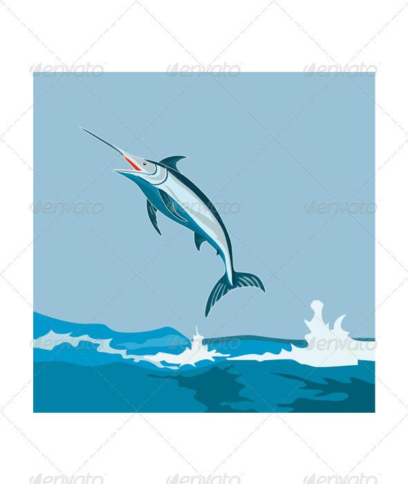 Blue Marlin Fish Jumping Retro - Animals Characters