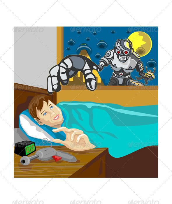 Alien Robot Snatching Kid - People Characters