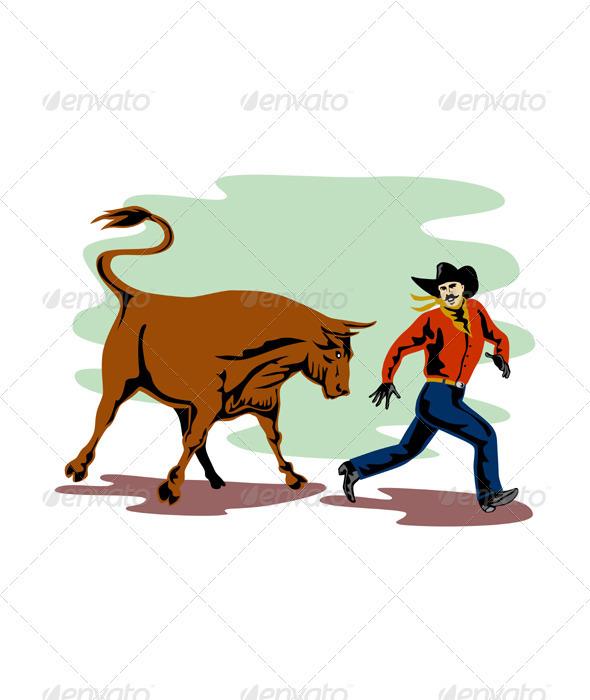 Raging Bull Attacking Retro - Animals Characters