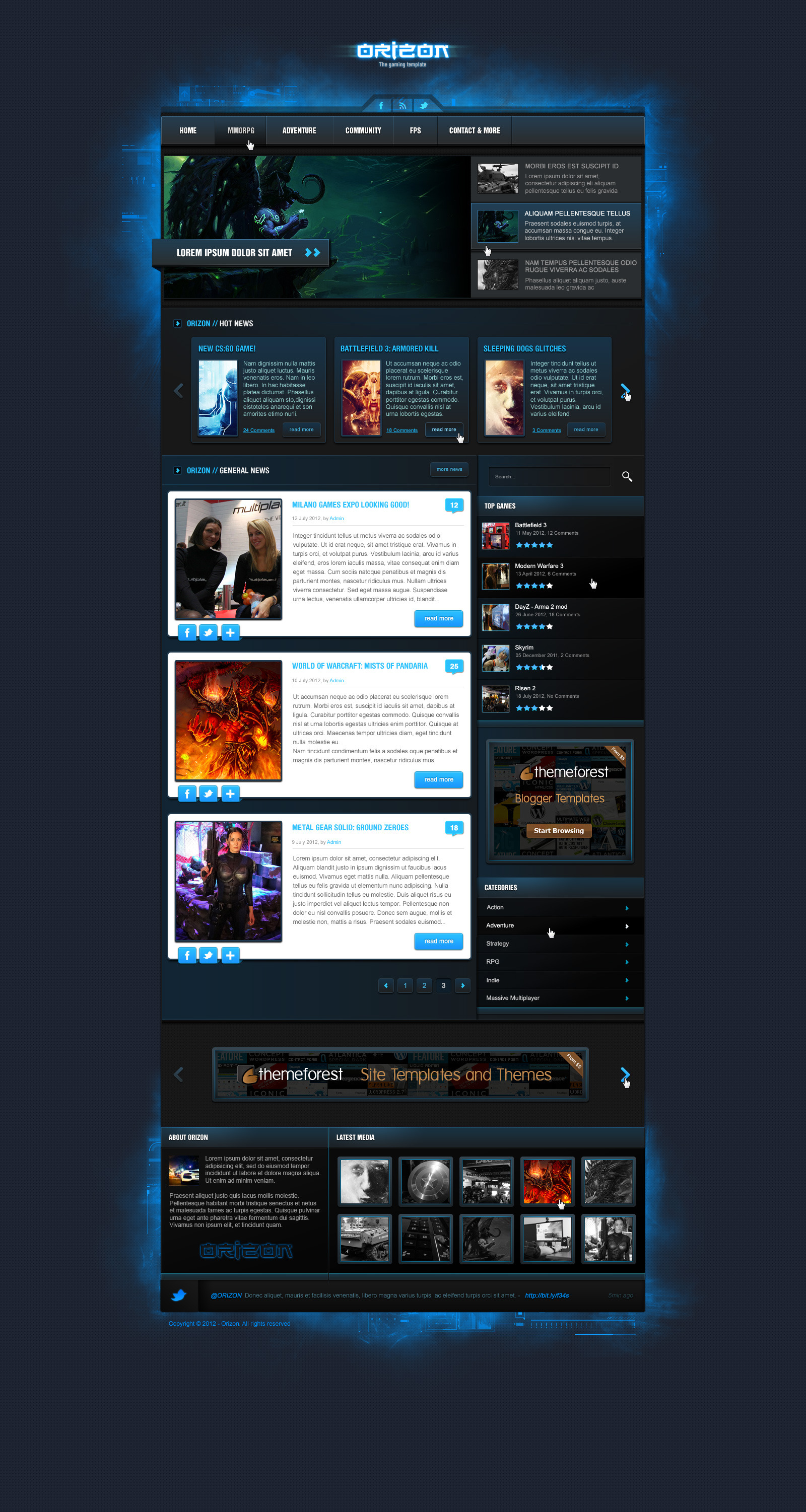 Orizon the gaming template by skywarrior themeforest orizon the gaming template maxwellsz