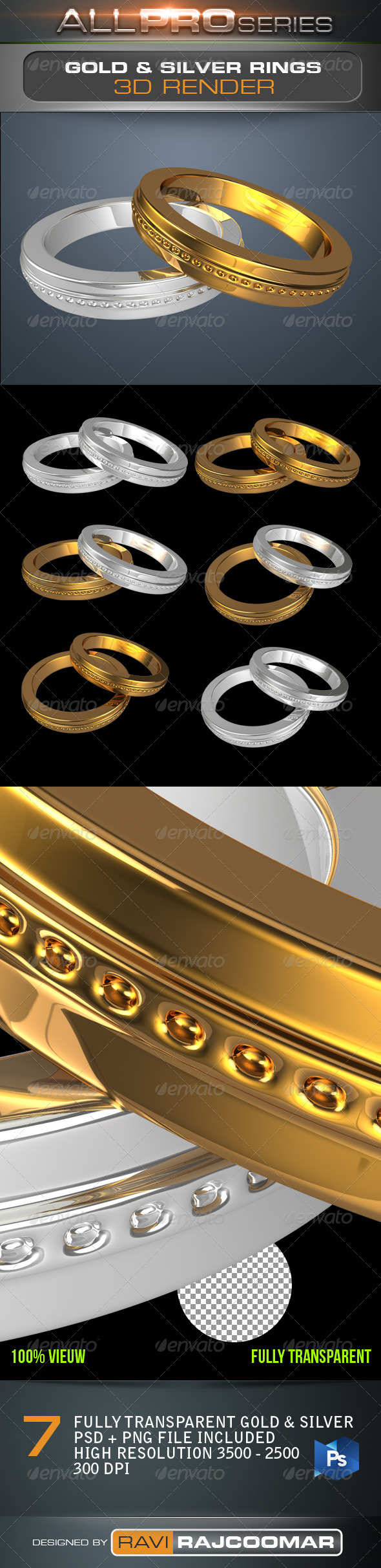 Gold & Silver Rings - Objects 3D Renders