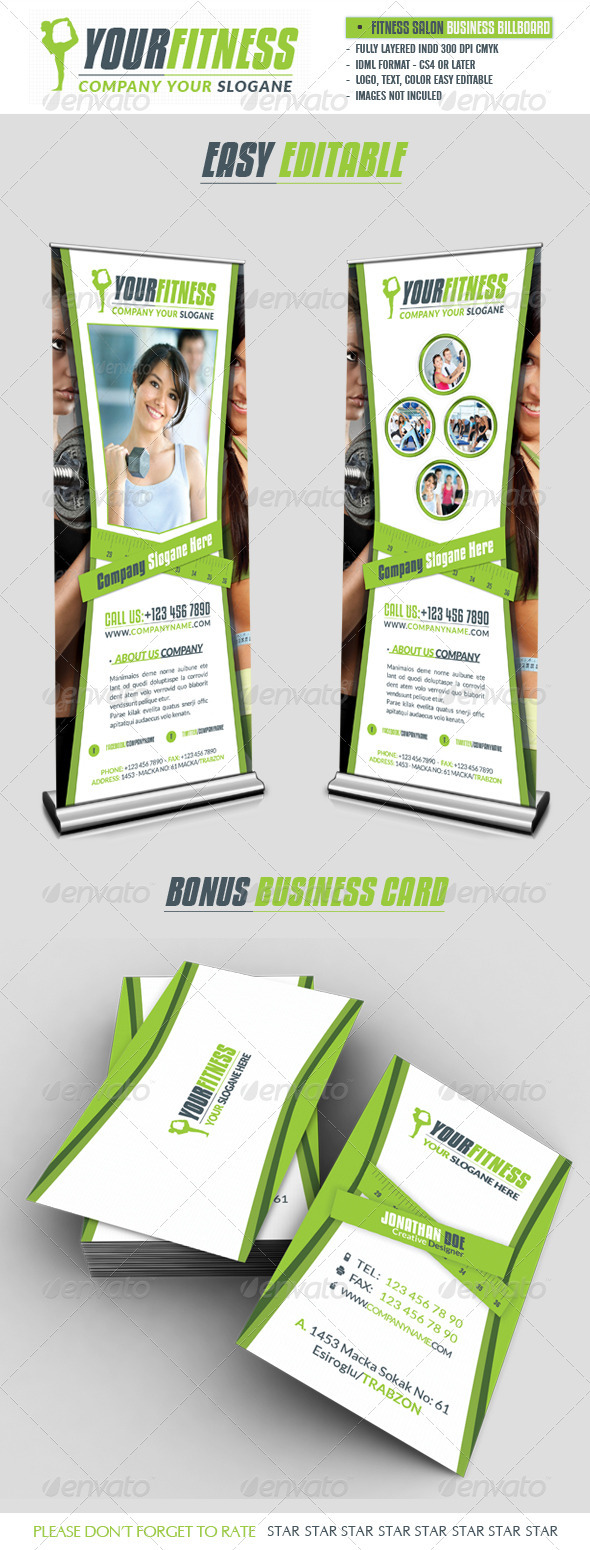 Fitness Salon Business Roll-Up - Signage Print Templates