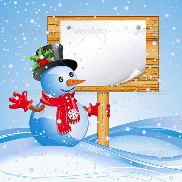 Billboard with snowman - Christmas Seasons/Holidays