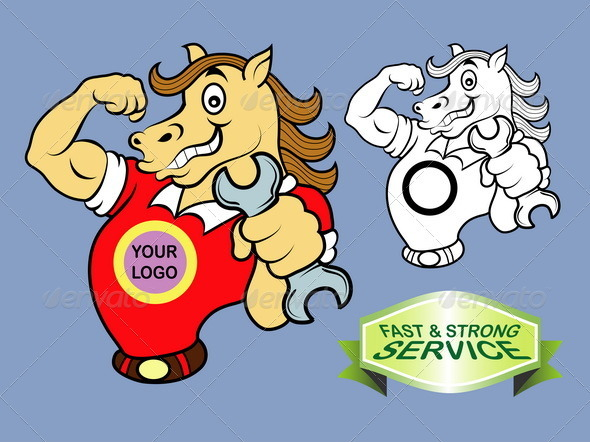 Horse cartoon character vector - Services Commercial / Shopping