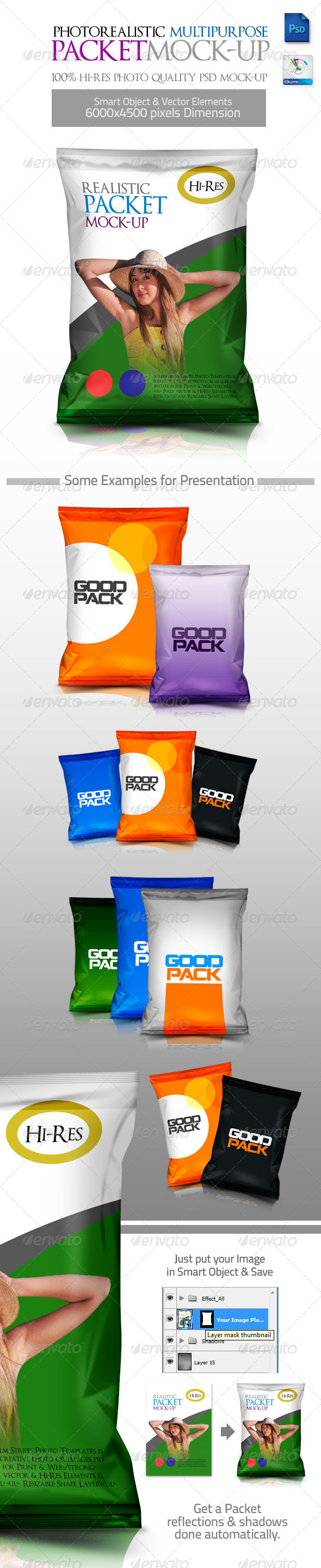 Photorealistic Multipurpose Packet Mock-up - Food and Drink Packaging