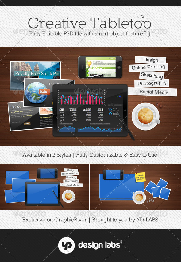 Creative Tabletop Mockup - Multiple Displays