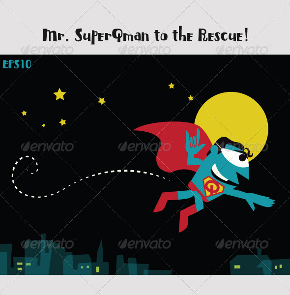 Superman, MrQ, Flying over the City at Night - Characters Vectors