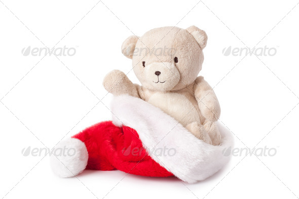 teddy bear and xmas cap - Stock Photo - Images