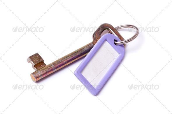 skeleton key with label - Stock Photo - Images