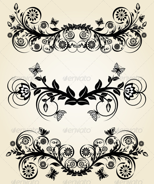 Set of vintage black floral borders - Borders Decorative