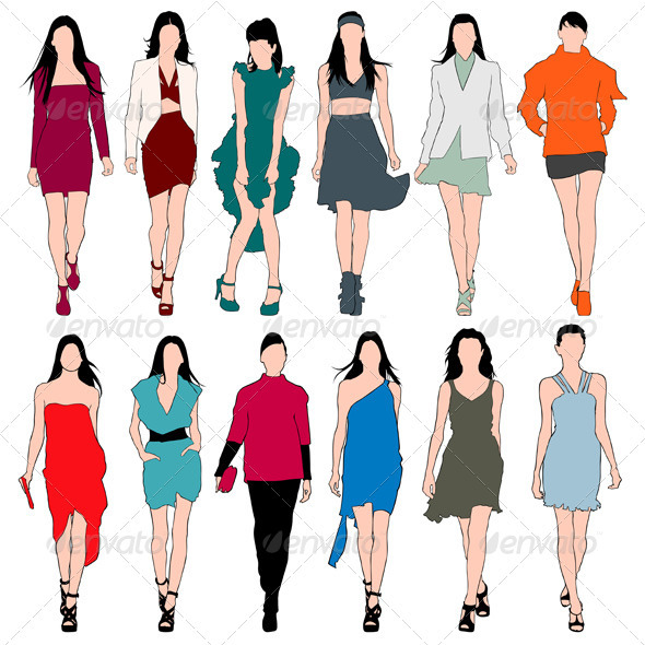 Fashion Models Silhouettes Vector Set - People Characters