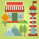 Set of Map Elements and Icons in Retro style - GraphicRiver Item for Sale