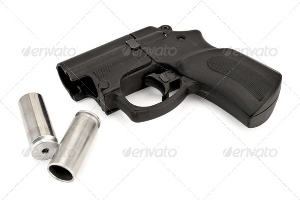 Traumatic pistol with ammunition - Stock Photo - Images