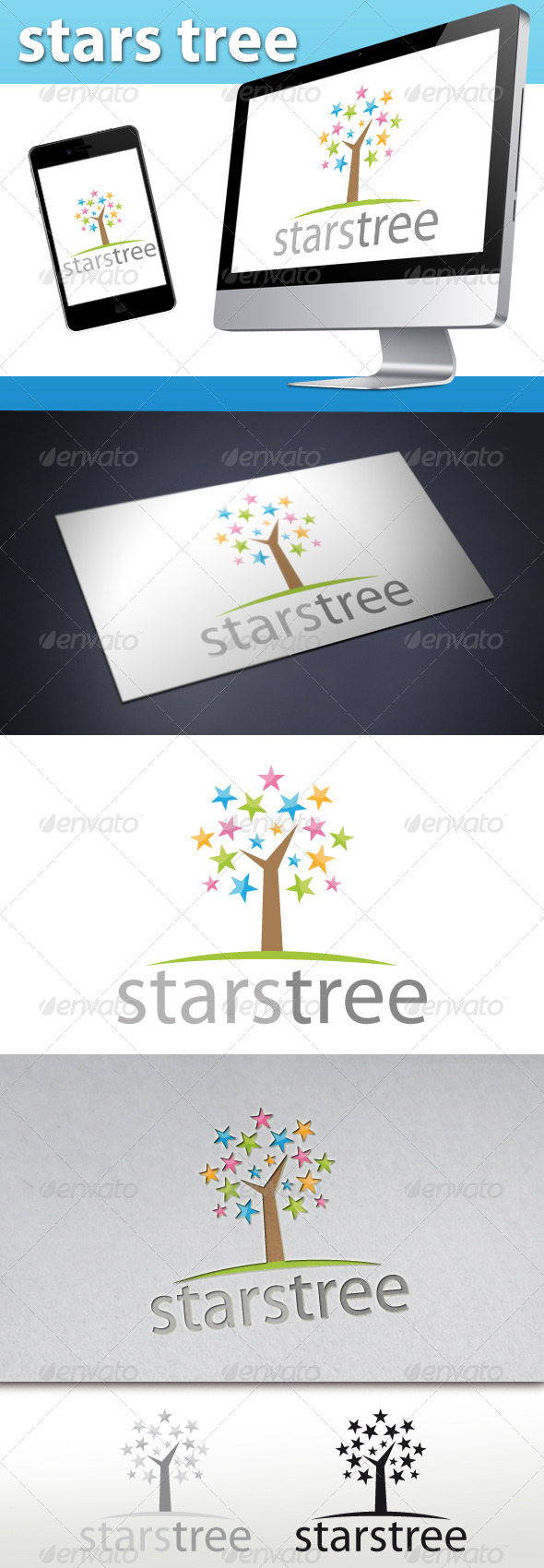 Stars Tree Logo - Objects Logo Templates