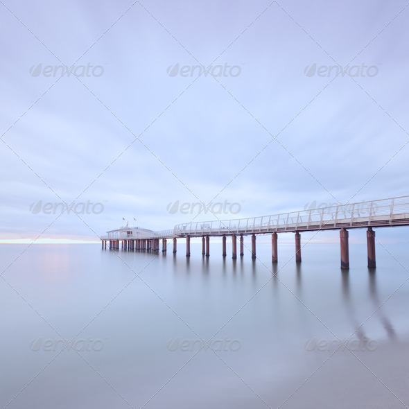 Pier soft water long exposure Lido Camaiore versilia tuscany italy - Stock Photo - Images