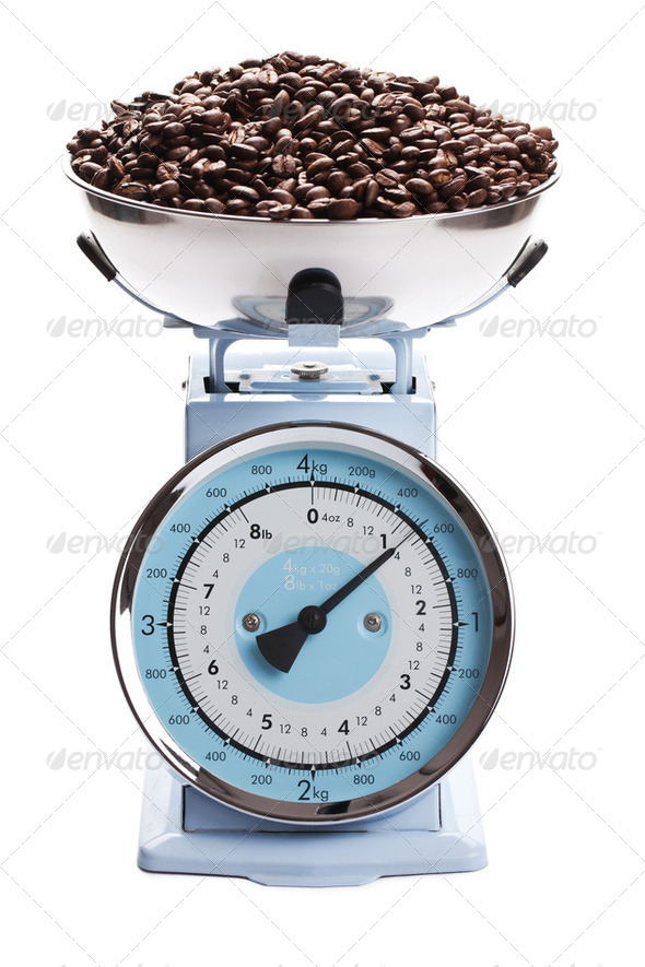kitchen scale with coffee beans - Stock Photo - Images