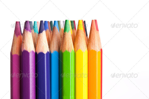 crayons isolated on white background - Stock Photo - Images