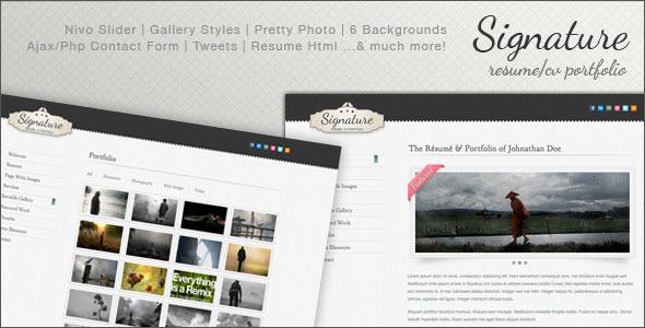 Signature - Resume / CV Portfolio Html Template by SpiralPixelDesign