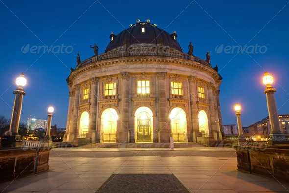 The Bodemuseum after sunset - Stock Photo - Images