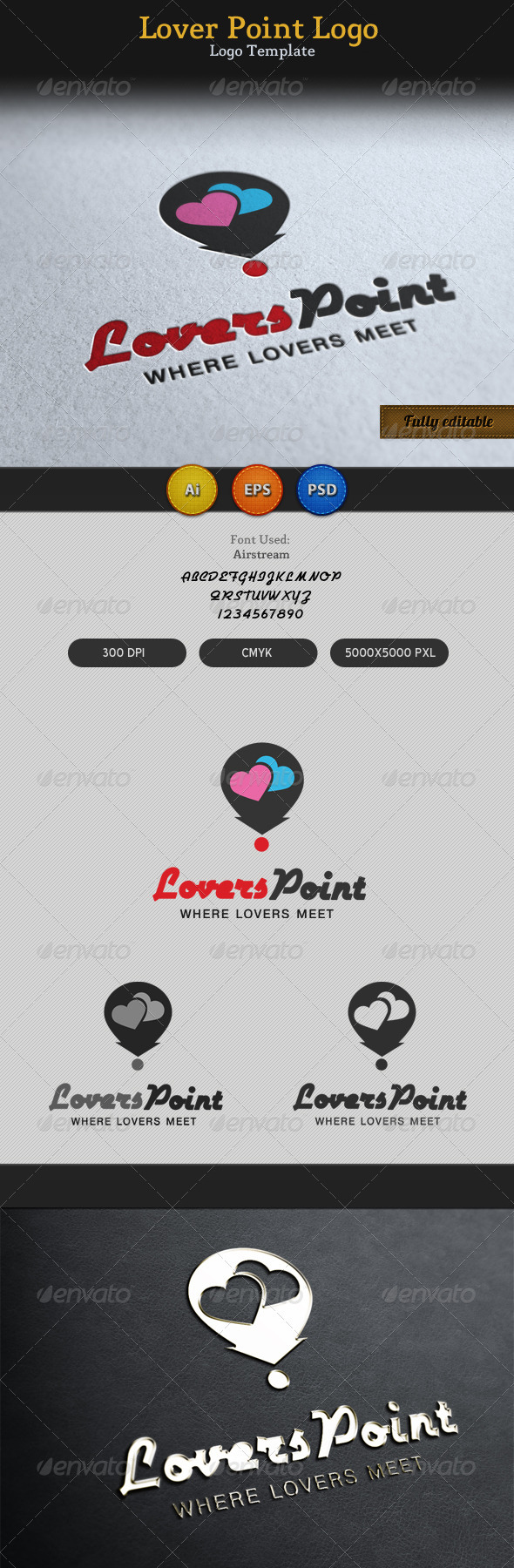 Lovers Point Locator Logo - Vector Abstract