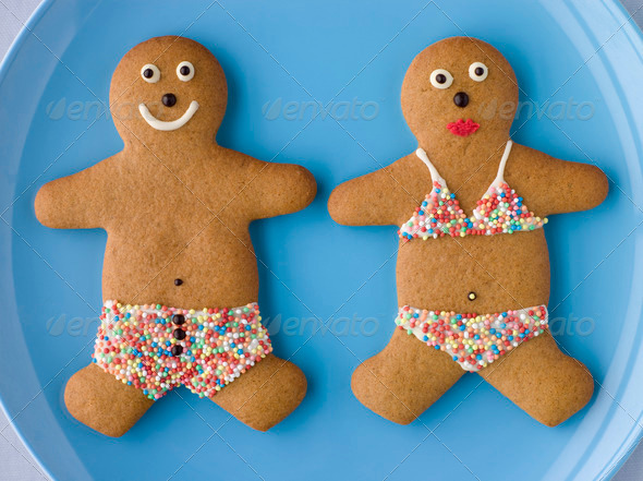 Gingerbread People with Sugar Candy Swimwear - Stock Photo - Images