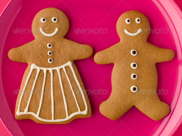 Gingerbread Man and Gingerbread Woman - Stock Photo - Images