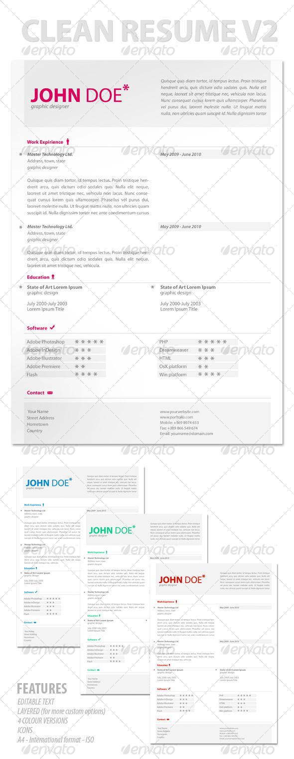 Modern & Clean Resume V2 - Resumes Stationery