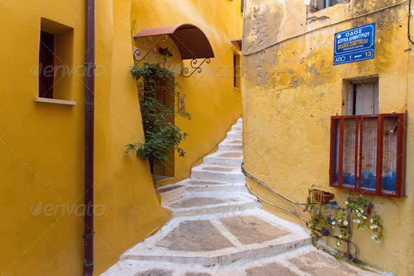 Small alley in Chania  - Stock Photo - Images