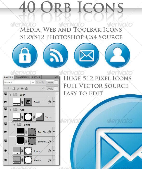 40 High Quality Photoshop Icons - Web Icons