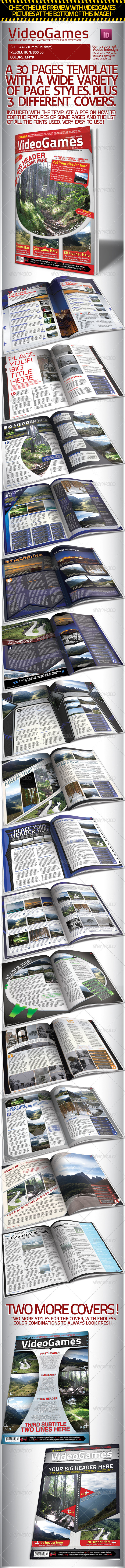 Videogames Magazine Template, with 3 Covers - Magazines Print Templates