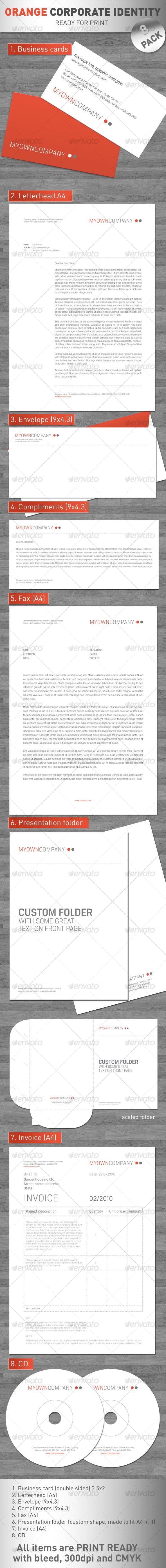 Orange Coporate Identity - 8 PACK !!! - Stationery Print Templates