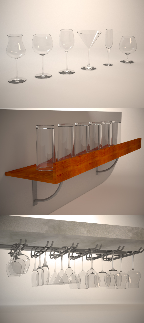 Glasses, shelf and glass holder - 3DOcean Item for Sale