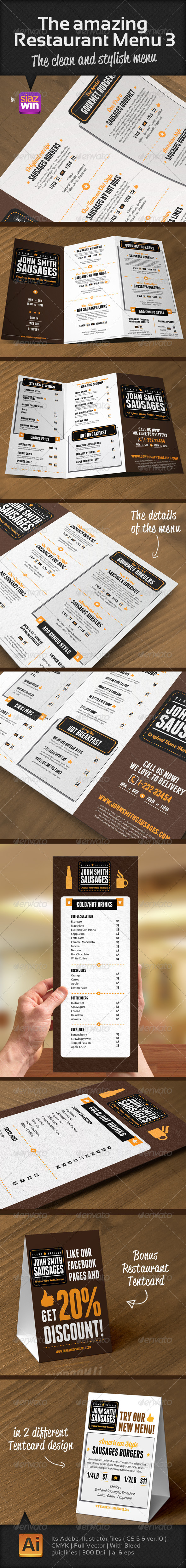 The Restaurant Menu 3 - Food Menus Print Templates