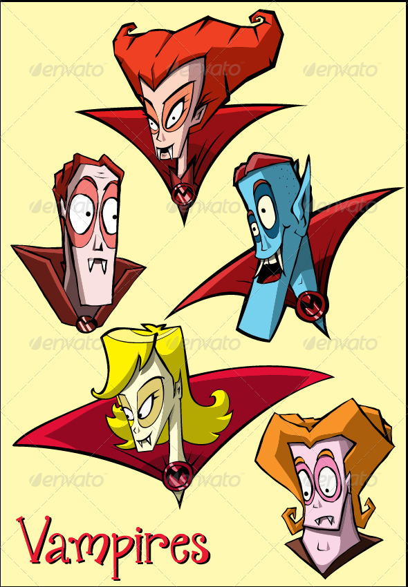 Vampires Cartoon Faces  - Characters Vectors