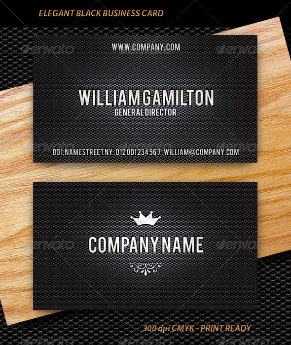 Elegant Black Business Card - Corporate Business Cards