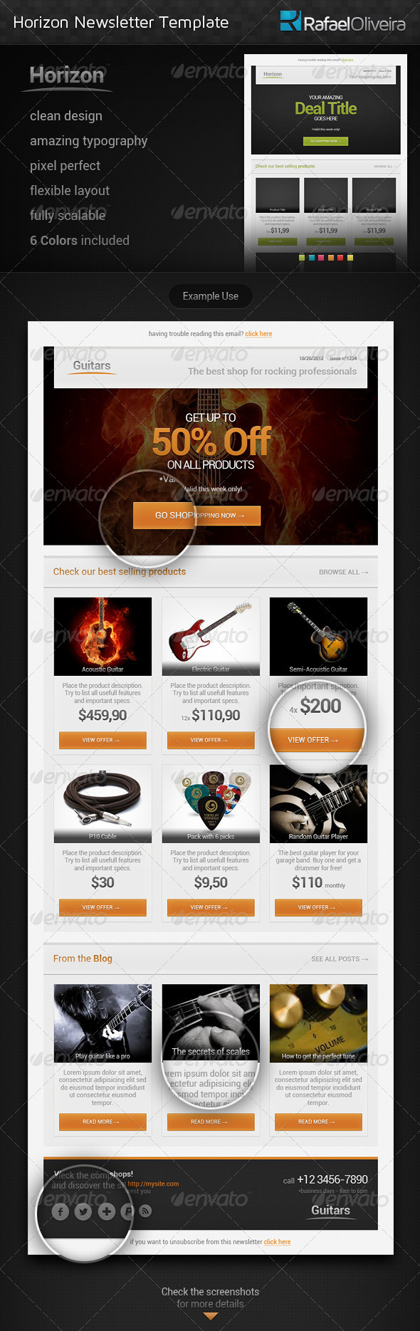 Horizon Newsletter Template - E-newsletters Web Elements