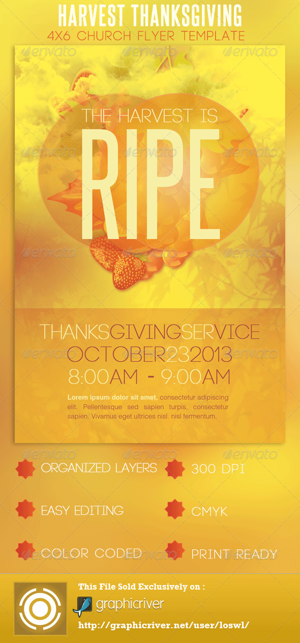 Church harvest thanksgiving service flyer by loswl for Free church flyer templates photoshop
