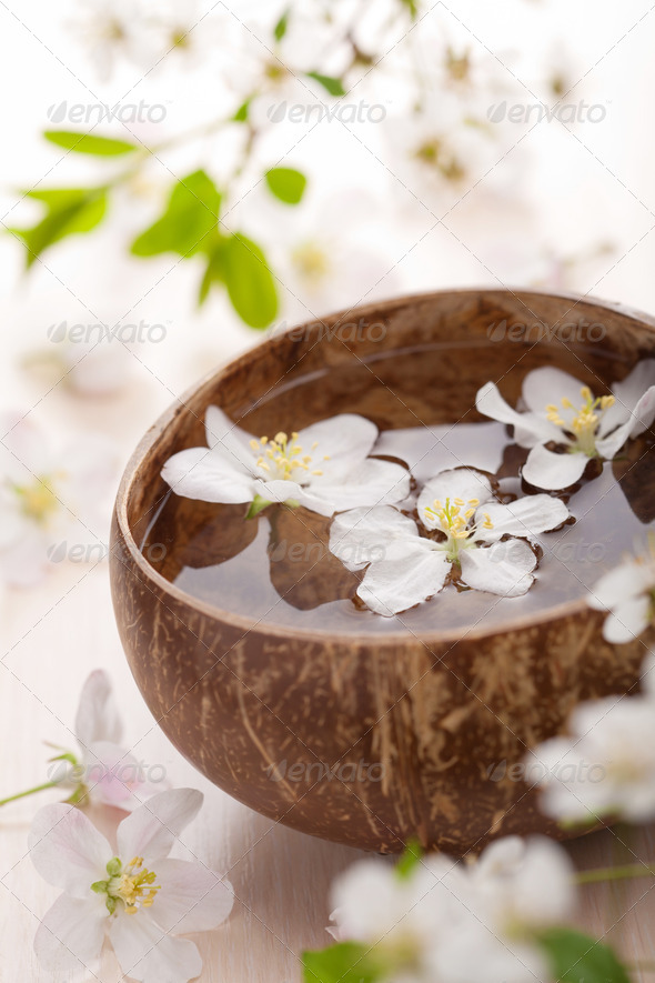 white flowers in bowl for spa - Stock Photo - Images