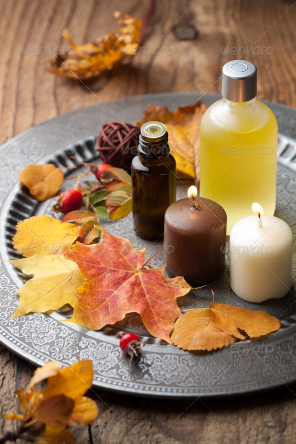 autumn spa and aromatherapy - Stock Photo - Images