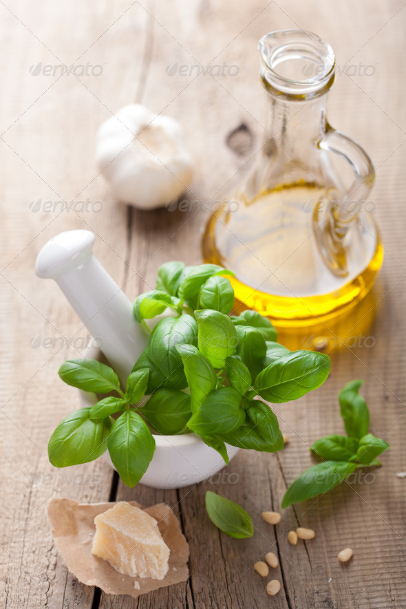 ingredients for pesto sauce - Stock Photo - Images