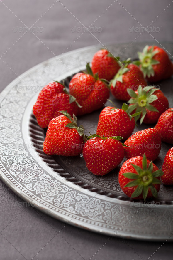 strawberry on vintage plate - Stock Photo - Images
