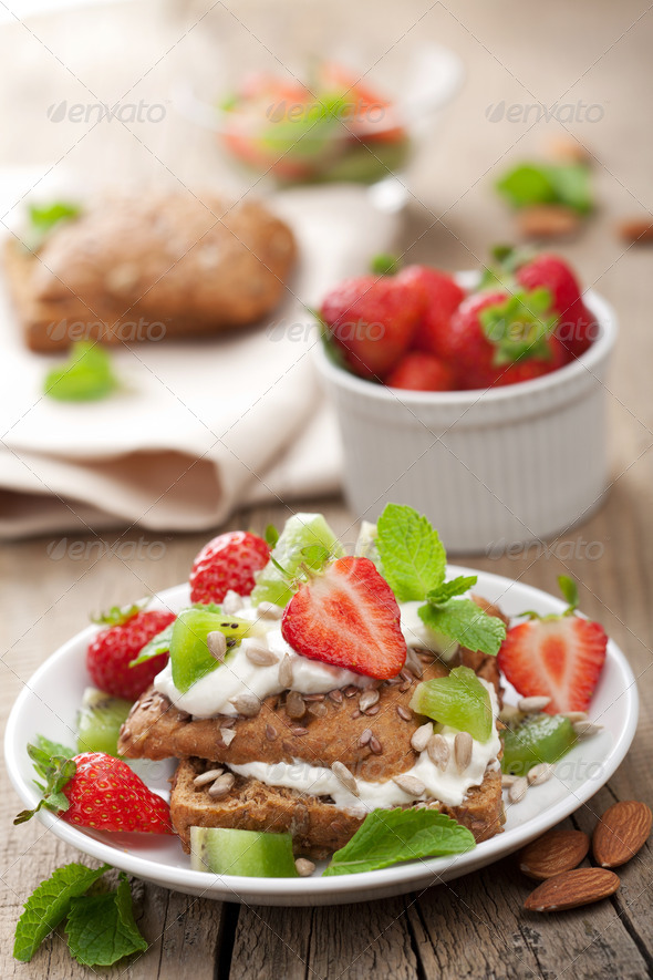 bread with cottage cheese and berries - Stock Photo - Images
