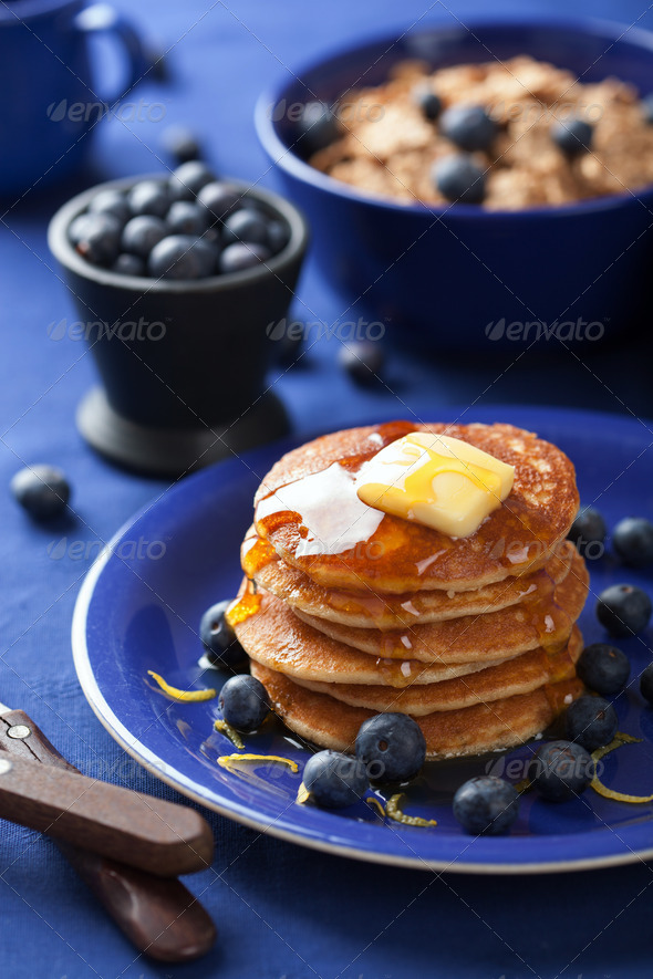 pancakes with syrup and blueberry - Stock Photo - Images