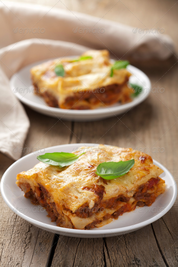 classic lasagna bolognese - Stock Photo - Images